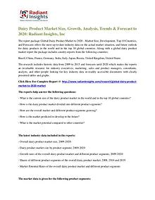 Dairy Product Market Size, Growth, Analysis, Trends & Forecast 2020
