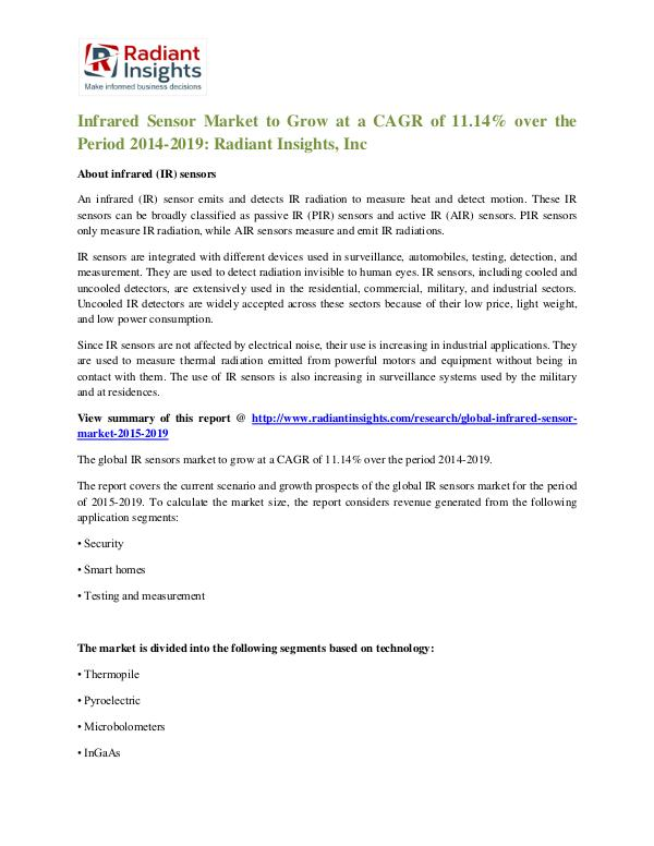 Infrared Sensor Market to Grow at a CAGR of 11.14% Infrared Sensor Market 2014-2019