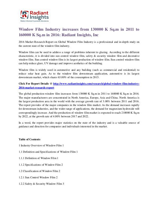 Window Film Industry Increases From 130000 K Sq.m in 2011 to 160000 Window Film Industry 2016