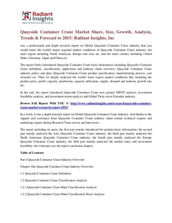 Quayside Container Crane Market Share, Size, Growth, Analysis 2015 Quayside Container Crane Market 2015