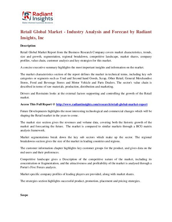 Retail Global Market - Industry Analysis and Forecast Retail Global Market
