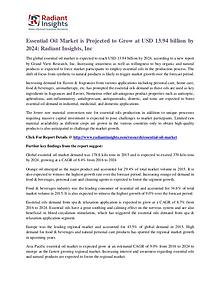 Essential Oil Market is Projected to Grow at USD 13.94 Billion by2024