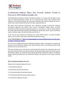 Cyclodextrins Industry Share, Size, Growth, Analysis, Trends 2014