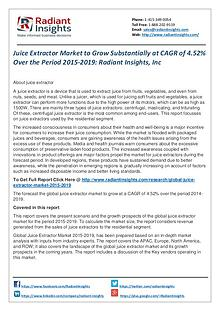 Juice Extractor Market to Grow Substantially at CAGR of 4.52%
