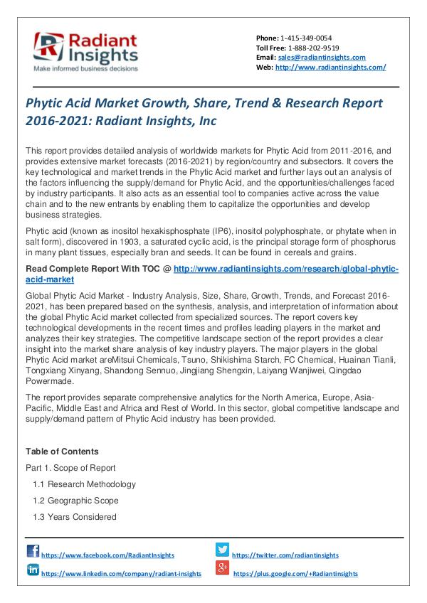Phytic Acid Market Growth, Share, Trend & Research Report 2016-2021 Phytic Acid Market 2016-2021