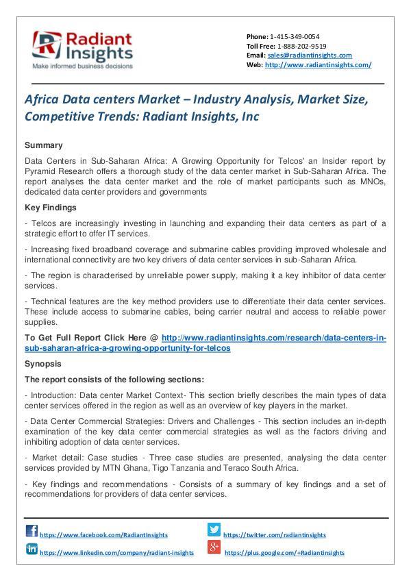 Africa Data Centers Market – Industry Analysis, Market Size Africa Data centers Market