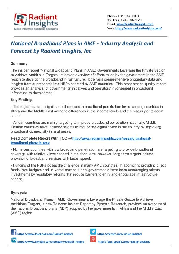National Broadband Plans in AME - Industry Analysis and Forecast National Broadband Plans in AME