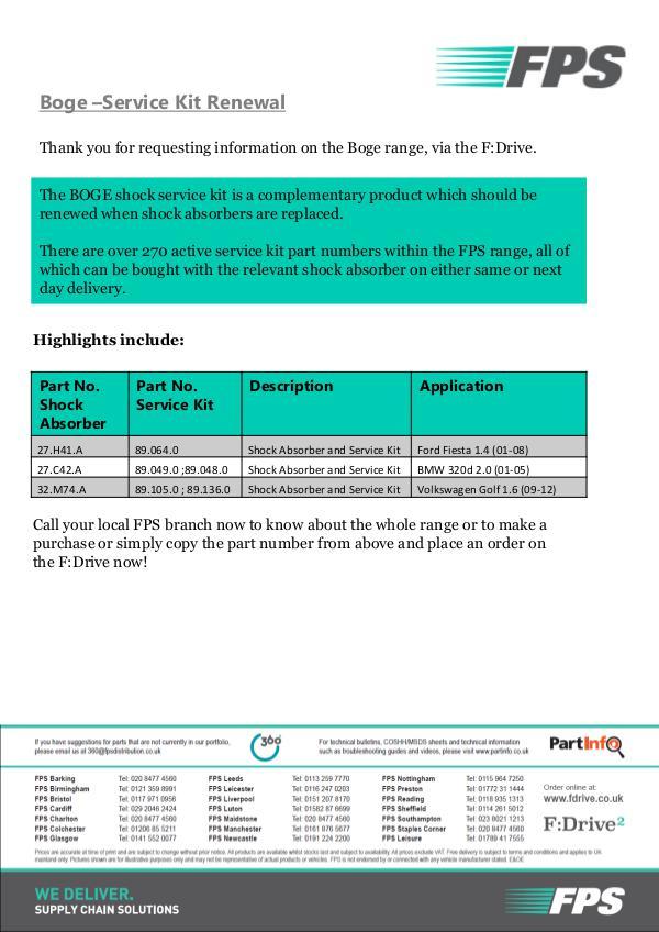 FDrive Boge –Service Kit Renewal