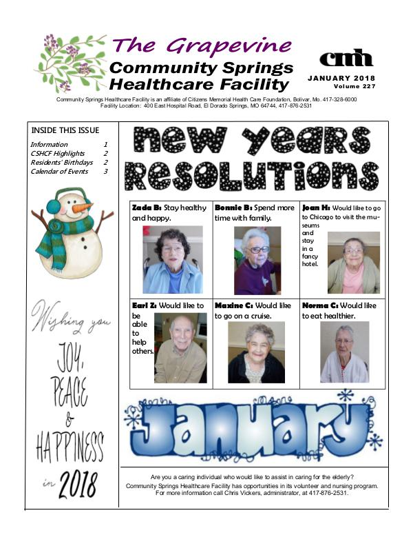 Community Springs Healthcare Facility's The Grapevine January 2018