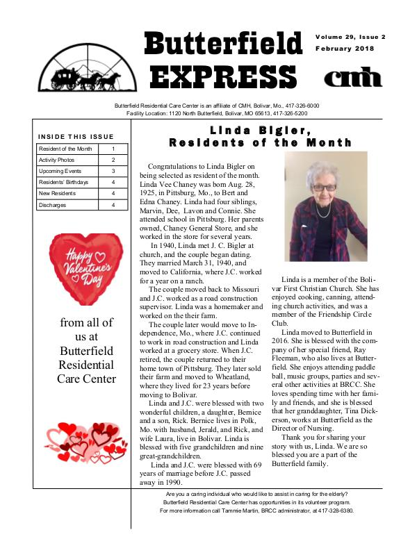 Butterfield Residential Care Center's Butterfield Express February 2018