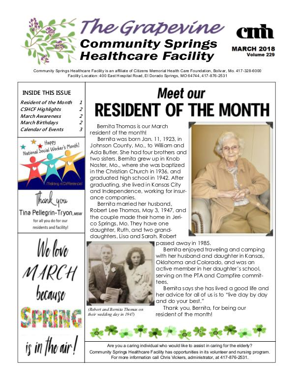 Community Springs Healthcare Facility's The Grapevine March 2018