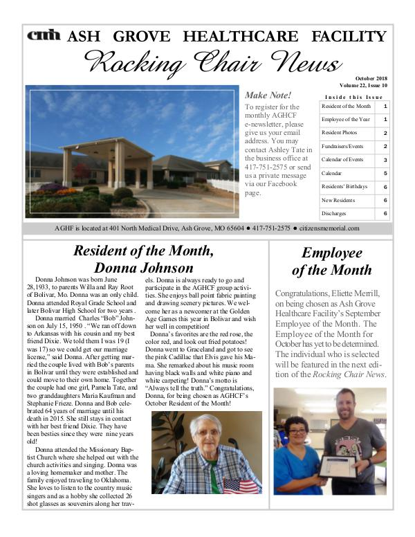 Ash Grove Healthcare Facility's Rocking Chair News October 2018