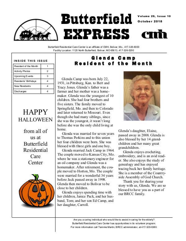 Butterfield Residential Care Center's Butterfield Express October 2018