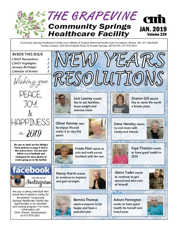 Community Springs Healthcare Facility's The Grapevine January 2019
