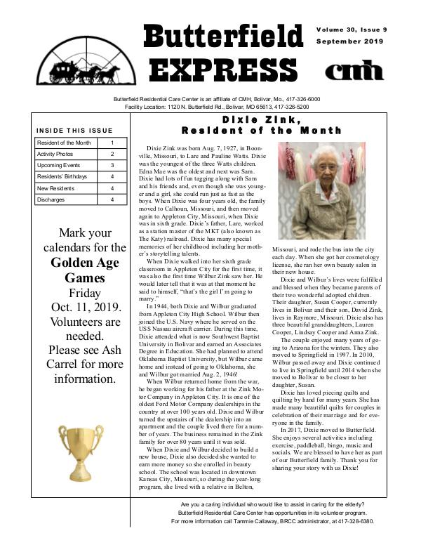 Butterfield Residential Care Center's Butterfield Express September 2019