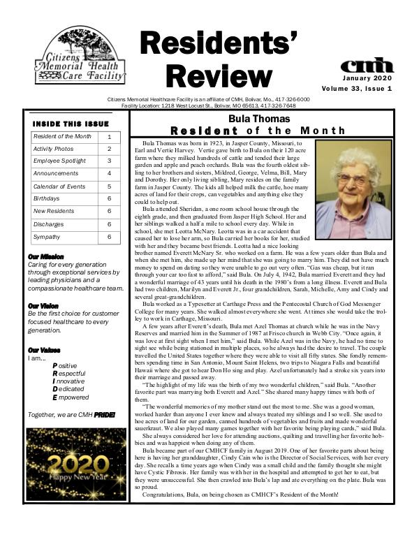 CMHCF Residents' Review January 2020