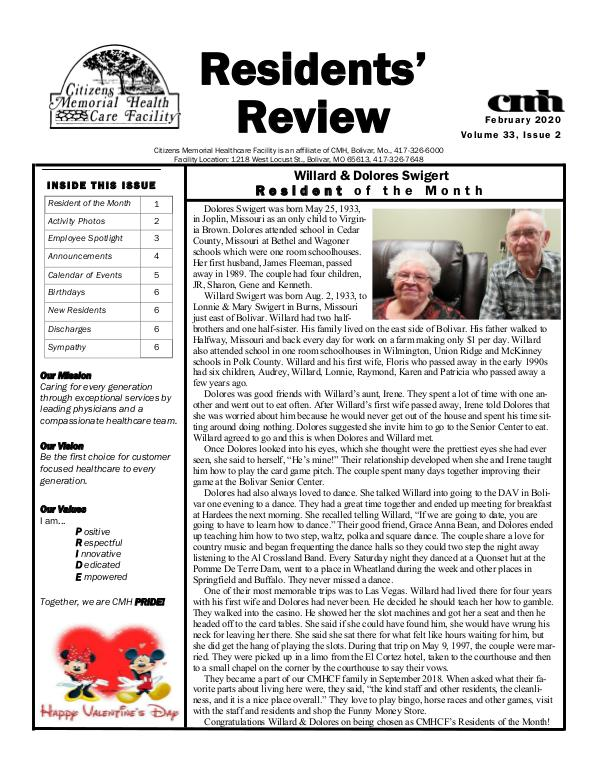 CMHCF Residents' Review February 2020