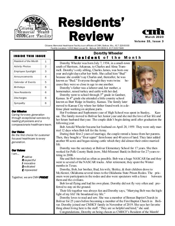 CMHCF Residents' Review March 2020