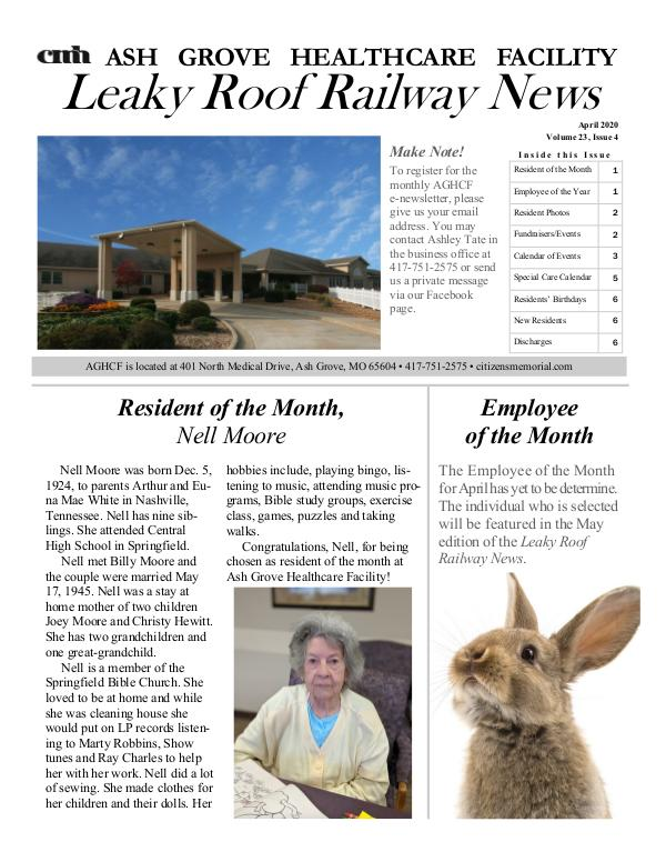 Ash Grove Healthcare Facility's Rocking Chair News April 2020
