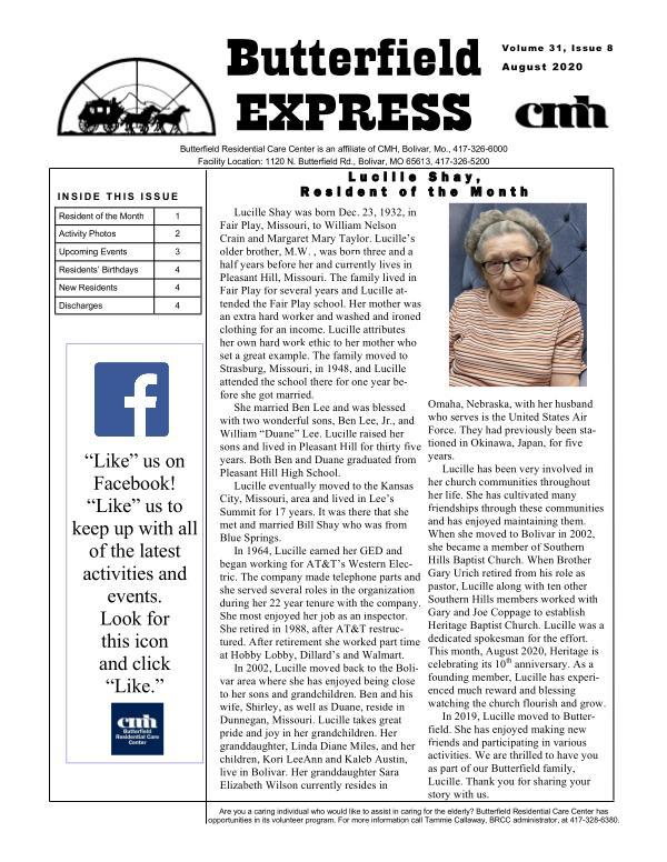 Butterfield Express August 2020