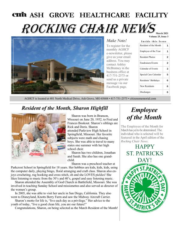 Ash Grove Healthcare Facility Rocking Chair News March 2021