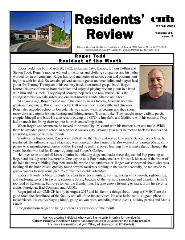 CMHCF Residents' Review March 2021