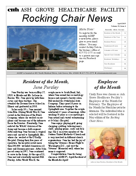 Ash Grove Healthcare Facility's Rocking Chair News April 2015
