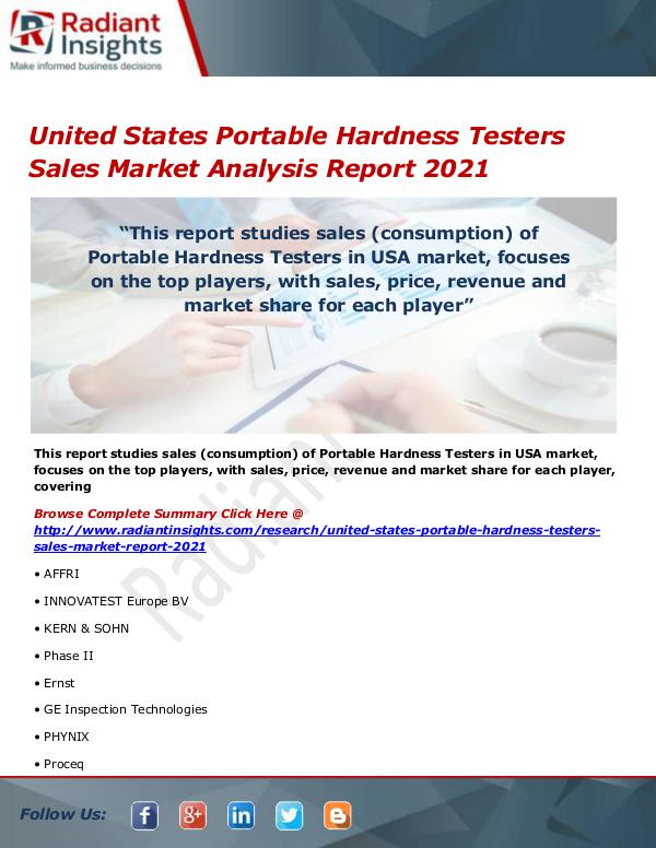 Electronics Research Reports by Radiant Insights United States Portable Hardness Testers Sales Mark