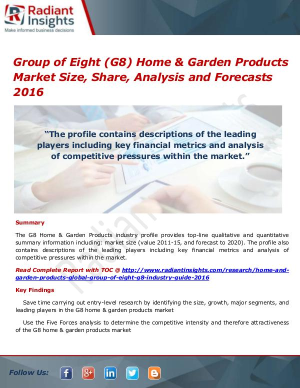 Group Of Eight (G8) Home & Garden Products Market