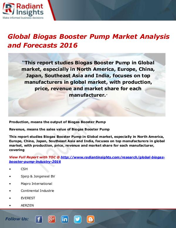 Electronics Research Reports by Radiant Insights Global Biogas Booster Pump Market