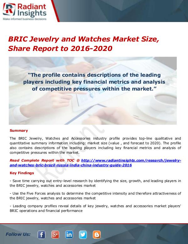 BRIC Jewelry and Watches Market
