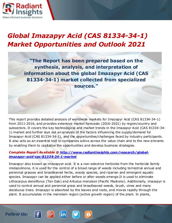 Chemicals and Materials Research Reports Global Imazapyr Acid (CAS 81334-34-1) Market