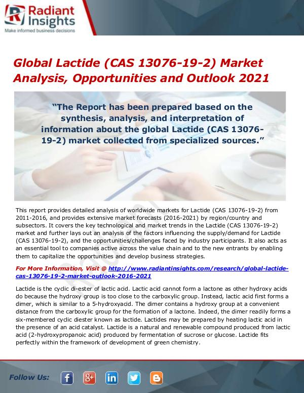 Chemicals and Materials Research Reports Global Lactide (CAS 13076-19-2) Market