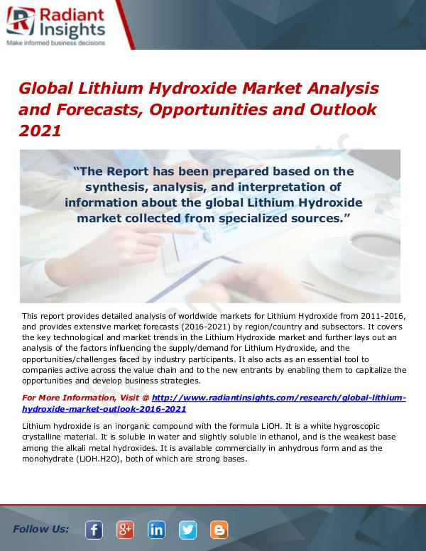 Chemicals and Materials Research Reports Global Lithium Hydroxide Market