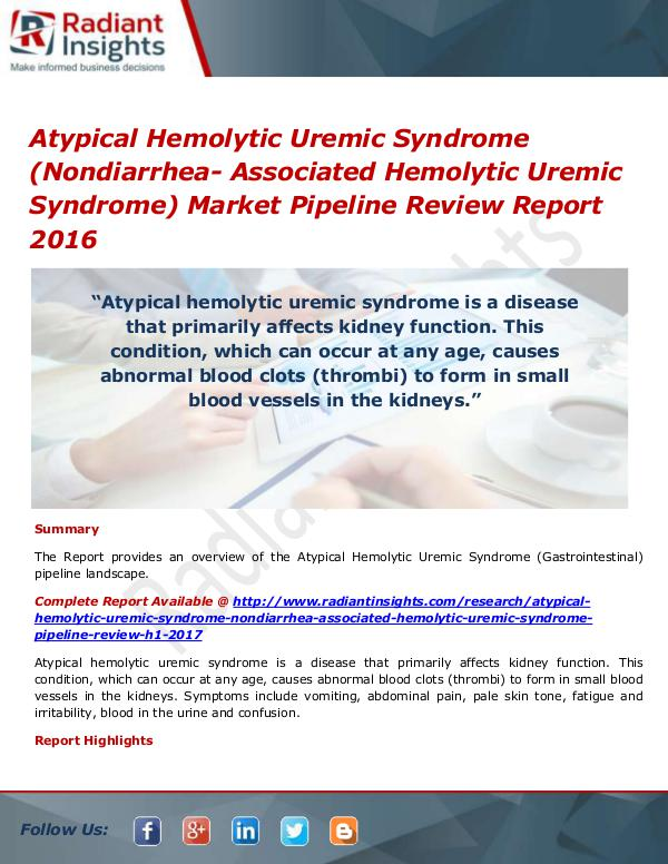 Pharmaceuticals and Healthcare Reports Atypical Hemolytic Uremic Syndrome (Nondiarrhea- A
