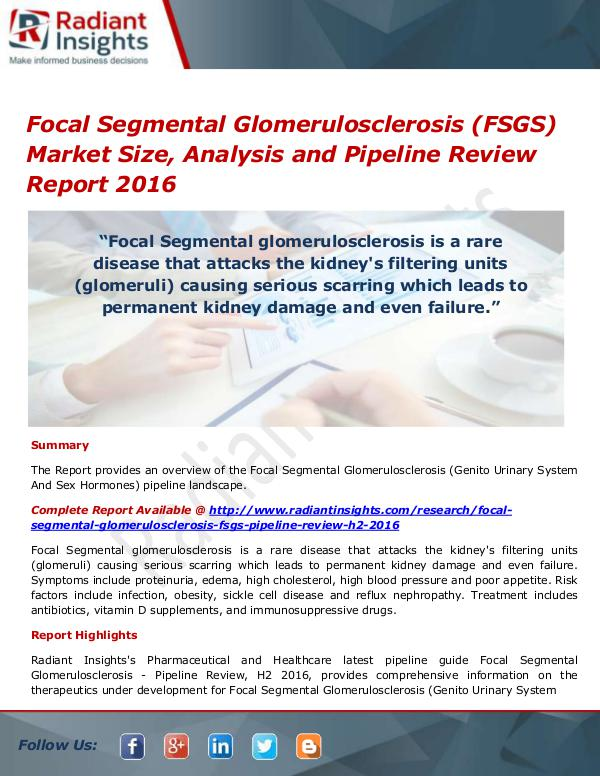 Pharmaceuticals and Healthcare Reports Focal Segmental Glomerulosclerosis (FSGS) Market