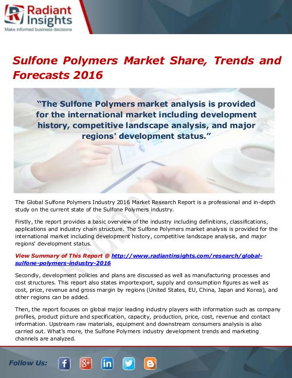 Sulfone Polymers Market Size, Share, Growth, Trend