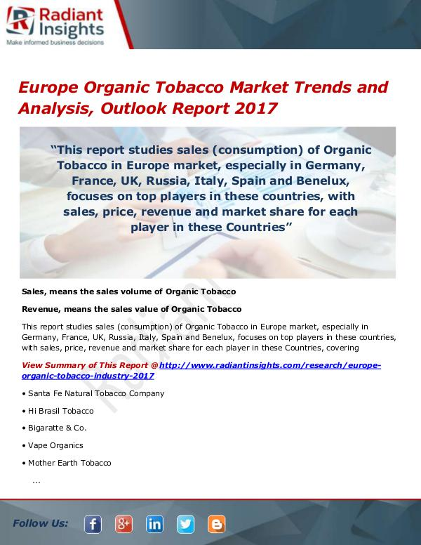 Europe Organic Tobacco Market Size, Share, Growth,