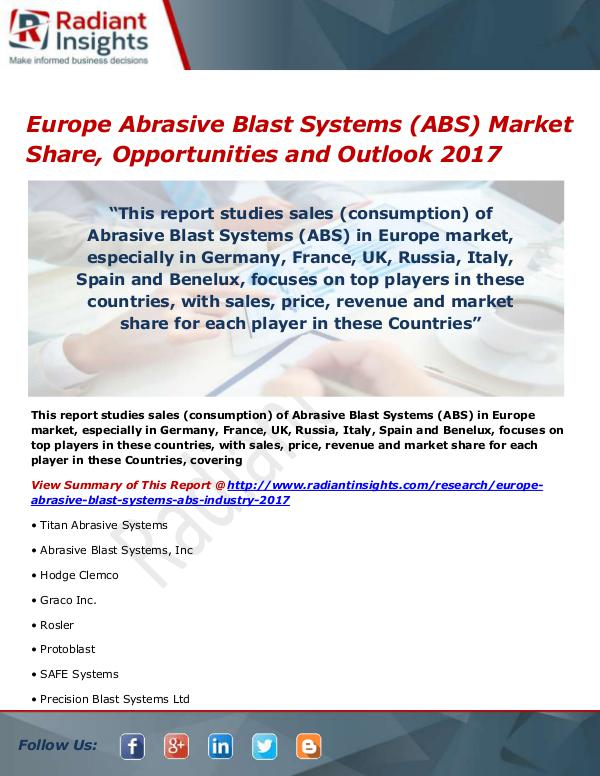 Electronics Research Reports by Radiant Insights Europe Abrasive Blast Systems (ABS) Market Size, S