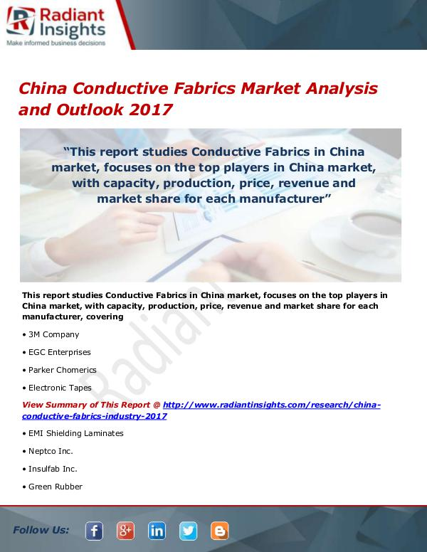 Chemicals and Materials Research Reports China Conductive Fabrics Market Size, Share, Growt