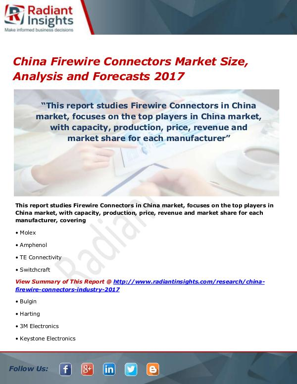 Electronics Research Reports by Radiant Insights China Firewire Connectors Market Size, Share, Grow