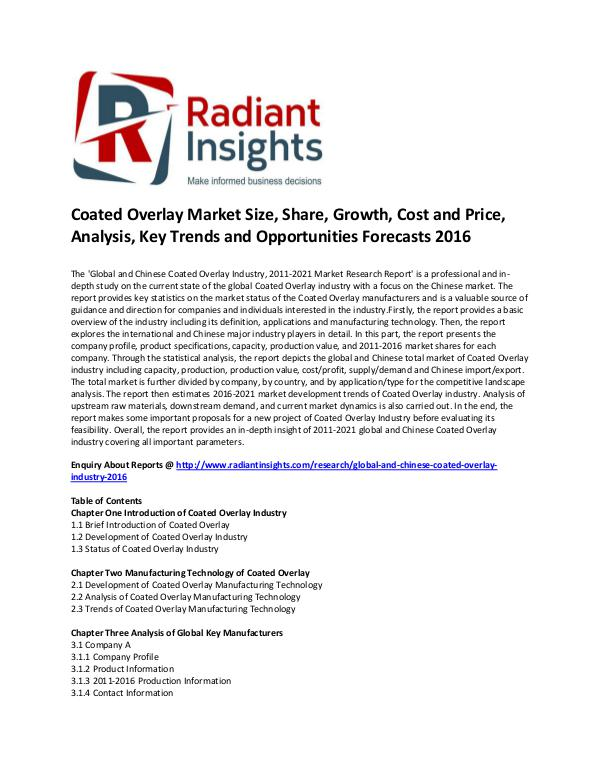 Coated Overlay Market Size, Share, Growth, Forecasts 2016 Global and Chinese Coated Overlay Market