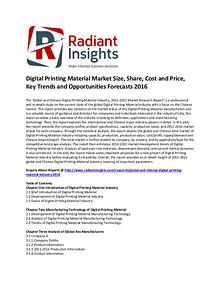 Digital Printing Material Market Cost and Price, Analysis 2016
