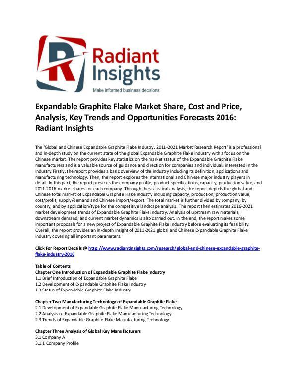 Expandable Graphite Flake Market Share, Analysis, Forecasts 2016 Global and Chinese Expandable Graphite Flake Marke