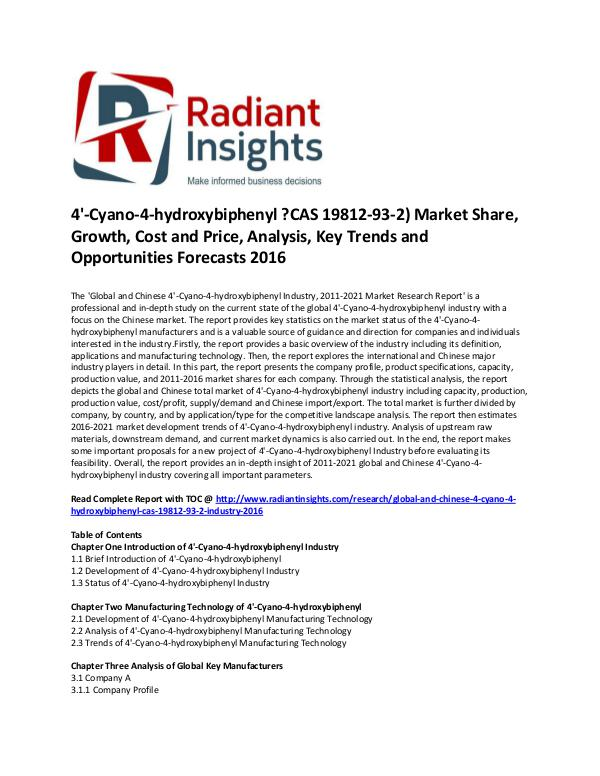 4'-Cyano-4-hydroxybiphenyl ?CAS 19812-93-2) Market Size 2016 4'-Cyano-4-hydroxybiphenyl Industry, 2011-2021 Mar