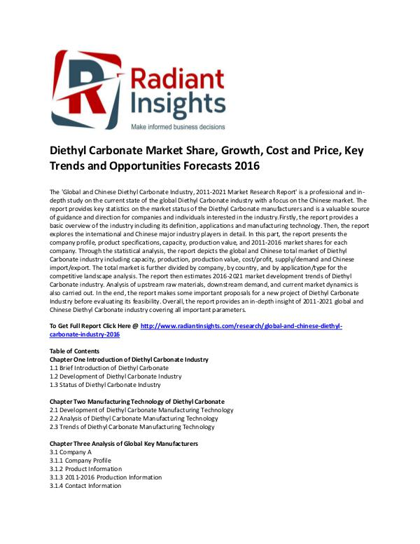 Diethyl Carbonate Market Size, Share, Cost and Price, Analysis 2016 Diethyl Carbonate Market