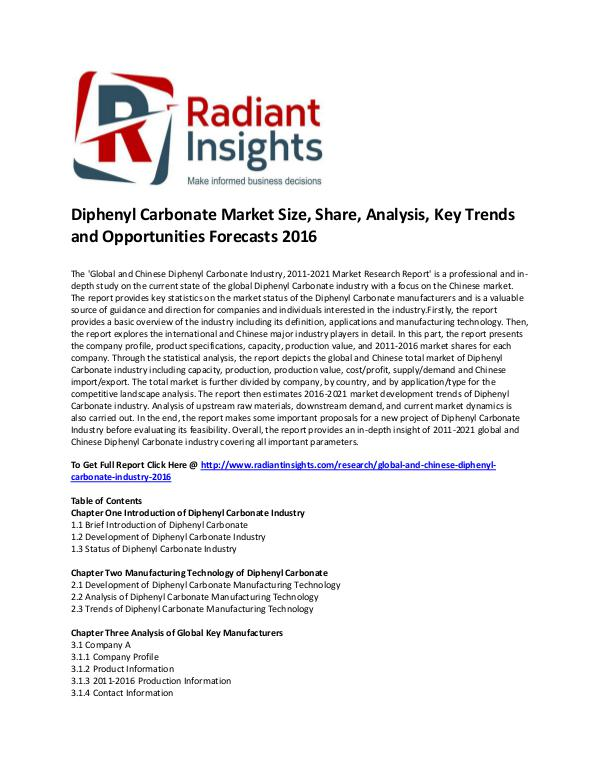 Diphenyl Carbonate Market Size, Growth, Cost and Price 2016 Diphenyl Carbonate Industry