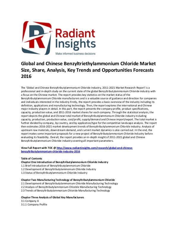 Benzyltriethylammonium Chloride Market Share 2016 Global and Chinese Benzyltributylammonium Chloride