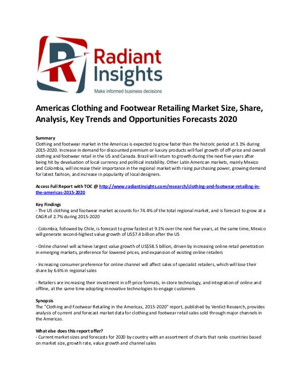 Americas Clothing and Footwear Retailing Market Size 2020 Clothing and footwear market
