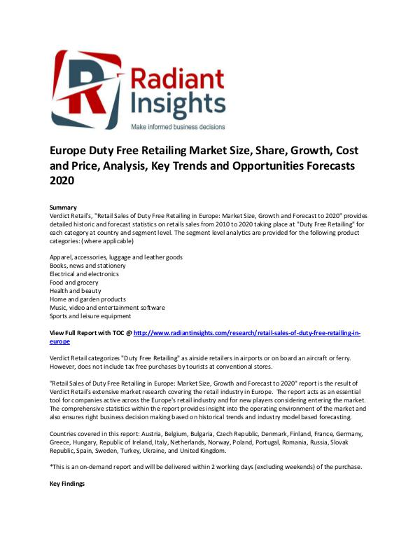 Consumer Goods Research Reports by Radiant Insights Europe Duty Free Retailing Market